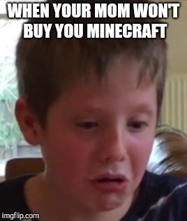 Manly kid loves minecraft | WHEN YOUR MOM WON'T BUY YOU MINECRAFT | image tagged in manly kid,minecraft,sad kid,funny face | made w/ Imgflip meme maker