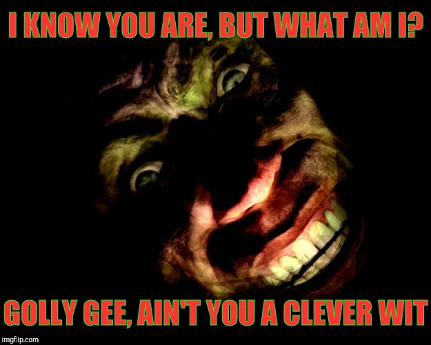 I KNOW YOU ARE, BUT WHAT AM I? GOLLY GEE, AIN'T YOU A CLEVER WIT | image tagged in half-life's g-man,from the creepy gallery of vagabondsouffl | made w/ Imgflip meme maker