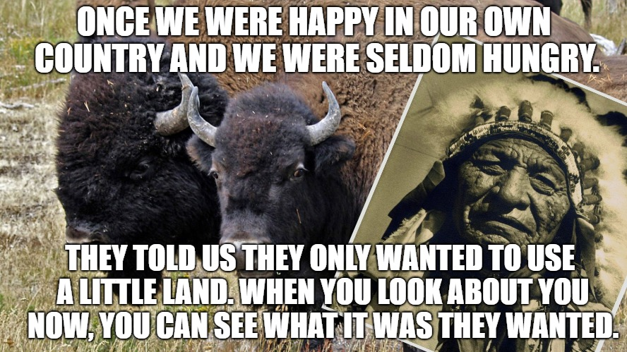 Once we were happy. | ONCE WE WERE HAPPY IN OUR OWN COUNTRY AND WE WERE SELDOM HUNGRY. THEY TOLD US THEY ONLY WANTED TO USE A LITTLE LAND. WHEN YOU LOOK ABOUT YOU | image tagged in native american | made w/ Imgflip meme maker