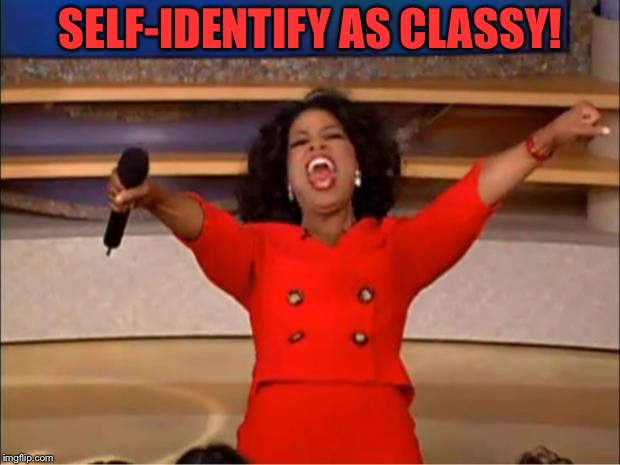 Oprah You Get A Meme | SELF-IDENTIFY AS CLASSY! | image tagged in memes,oprah you get a | made w/ Imgflip meme maker