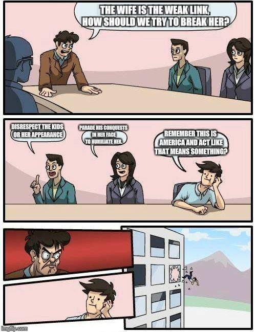 Boardroom Meeting Suggestion Meme | THE WIFE IS THE WEAK LINK, HOW SHOULD WE TRY TO BREAK HER? DISRESPECT THE KIDS OR HER APPEARANCE PARADE HIS CONQUESTS IN HER FACE TO HUMILIA | image tagged in memes,boardroom meeting suggestion | made w/ Imgflip meme maker