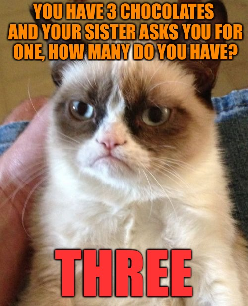 Grumpy Cat | YOU HAVE 3 CHOCOLATES AND YOUR SISTER ASKS YOU FOR ONE, HOW MANY DO YOU HAVE? THREE | image tagged in memes,grumpy cat | made w/ Imgflip meme maker
