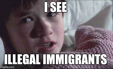 I See Dead People | I SEE ILLEGAL IMMIGRANTS | image tagged in memes,i see dead people | made w/ Imgflip meme maker