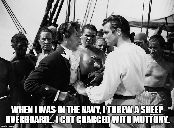 WHEN I WAS IN THE NAVY, I THREW A SHEEP OVERBOARD... I GOT CHARGED WITH MUTTONY.. | image tagged in sheep | made w/ Imgflip meme maker