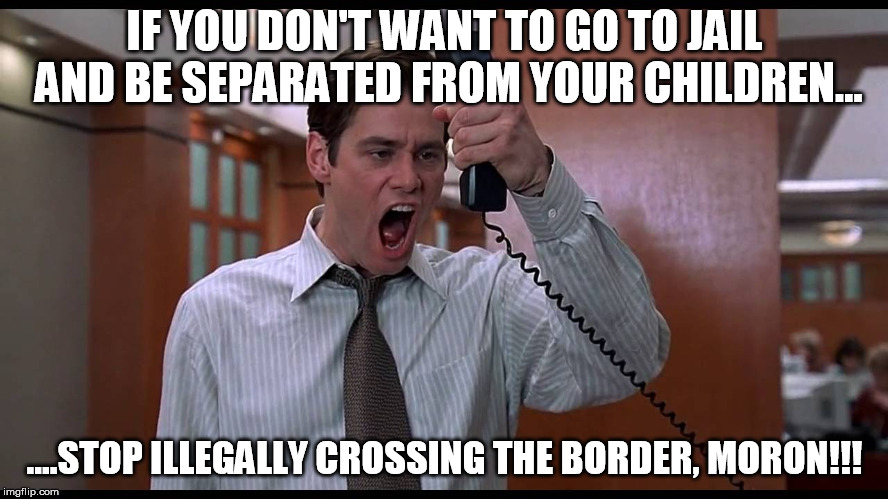 It seems so simple...yet it is so difficult to grasp for some folks... |  IF YOU DON'T WANT TO GO TO JAIL AND BE SEPARATED FROM YOUR CHILDREN... ....STOP ILLEGALLY CROSSING THE BORDER, MORON!!! | image tagged in liar liar obvious advice,illegal,border,crossing | made w/ Imgflip meme maker
