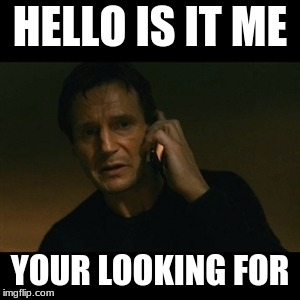 Liam Neeson Taken Meme | HELLO IS IT ME YOUR LOOKING FOR | image tagged in memes,liam neeson taken | made w/ Imgflip meme maker