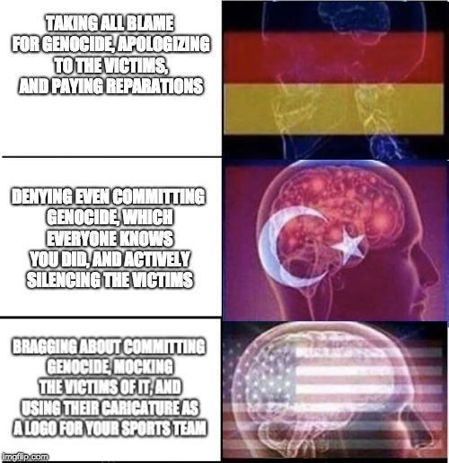 Genocide | TAKING ALL BLAME FOR GENOCIDE, APOLOGIZING TO THE VICTIMS, AND PAYING REPARATIONS DENYING EVEN COMMITTING GENOCIDE, WHICH EVERYONE KNOWS YOU | image tagged in expanding brain,memes,political,genocide,politics | made w/ Imgflip meme maker