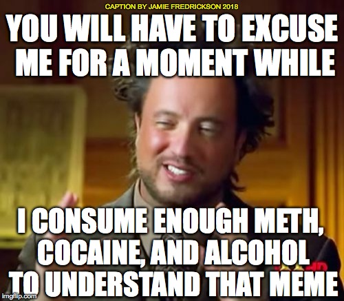 Ancient Aliens Meme | YOU WILL HAVE TO EXCUSE ME FOR A MOMENT WHILE I CONSUME ENOUGH METH, COCAINE, AND ALCOHOL TO UNDERSTAND THAT MEME CAPTION BY JAMIE FREDRICKS | image tagged in memes,ancient aliens | made w/ Imgflip meme maker