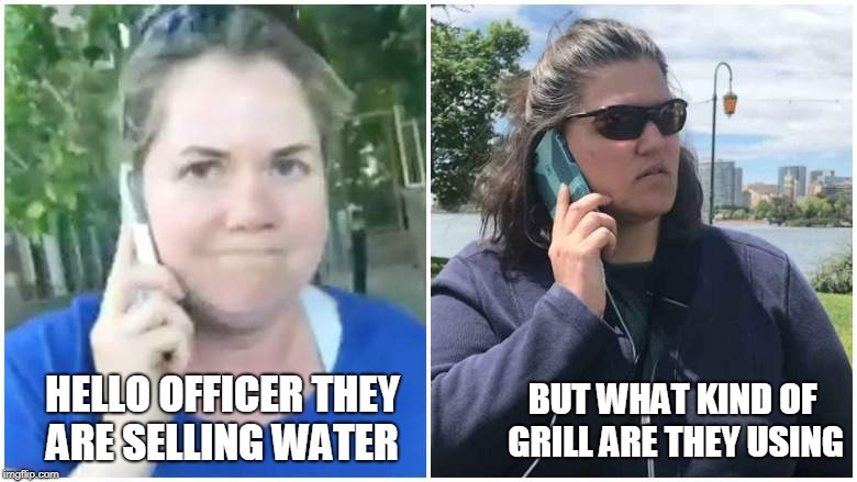 HELLO OFFICER THEY ARE SELLING WATER BUT WHAT KIND OF GRILL ARE THEY USING | image tagged in barbecue becky,permit patty | made w/ Imgflip meme maker