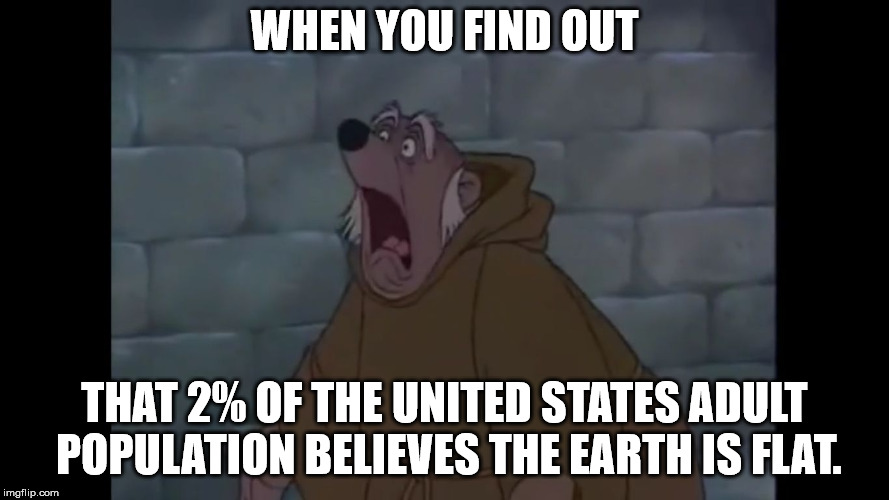 Friar Tuck shocked | WHEN YOU FIND OUT THAT 2% OF THE UNITED STATES ADULT POPULATION BELIEVES THE EARTH IS FLAT. | image tagged in friar tuck shocked,flat earthers,funny,memes | made w/ Imgflip meme maker