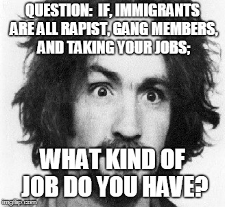What kind of job do you have?!?!?! |  QUESTION:  IF, IMMIGRANTS ARE ALL RAPIST, GANG MEMBERS, AND TAKING YOUR JOBS;; WHAT KIND OF JOB DO YOU HAVE? | image tagged in immigrants,trump,jobs,manson,serial killer | made w/ Imgflip meme maker
