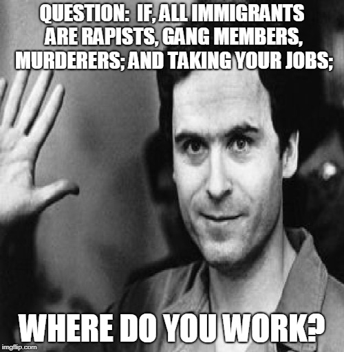 Immigrants taking your jobs | QUESTION:  IF, ALL IMMIGRANTS ARE RAPISTS, GANG MEMBERS, MURDERERS; AND TAKING YOUR JOBS; WHERE DO YOU WORK? | image tagged in ted bundy,question,taking your job,serial killer | made w/ Imgflip meme maker