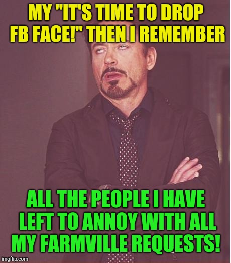 "Face You Make Robert Downey Jr Meme | MY ""IT'S TIME TO DROP FB FACE!"" THEN I REMEMBER ALL THE PEOPLE I HAVE LEFT TO ANNOY WITH ALL MY FARMVILLE REQUESTS! 