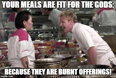 Angry Chef Gordon Ramsay | YOUR MEALS ARE FIT FOR THE GODS: BECAUSE THEY ARE BURNT OFFERINGS! | image tagged in memes,angry chef gordon ramsay | made w/ Imgflip meme maker