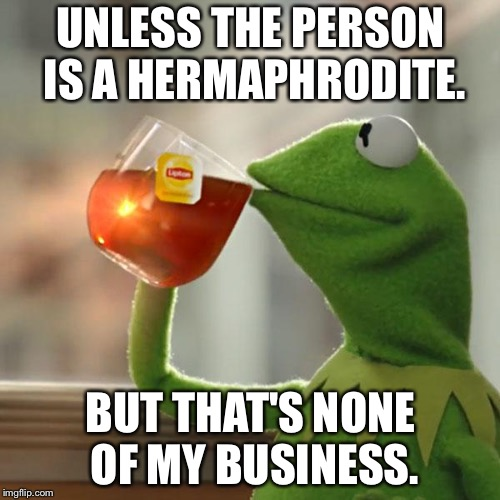 But Thats None Of My Business Meme | UNLESS THE PERSON IS A HERMAPHRODITE. BUT THAT'S NONE OF MY BUSINESS. | image tagged in memes,but thats none of my business,kermit the frog | made w/ Imgflip meme maker