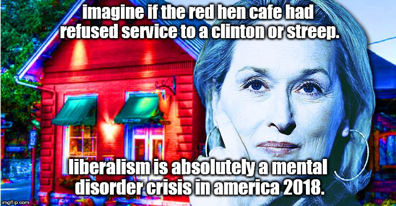 imagine if the red hen cafe had refused service to a clinton or streep. liberalism is absolutely a mental disorder crisis in america 2018. | image tagged in streep red hen liberals | made w/ Imgflip meme maker