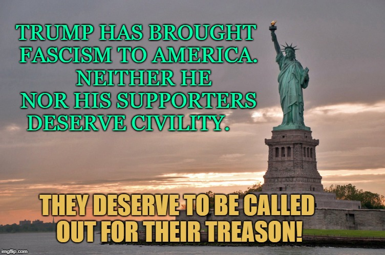They deserve to be called out for their treason | TRUMP HAS BROUGHT FASCISM TO AMERICA.   NEITHER HE NOR HIS SUPPORTERS DESERVE CIVILITY. THEY DESERVE TO BE CALLED OUT FOR THEIR TREASON! | image tagged in donald trump,treason | made w/ Imgflip meme maker
