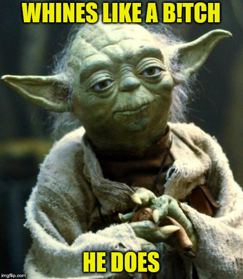 Star Wars Yoda Meme | WHINES LIKE A B!TCH HE DOES | image tagged in memes,star wars yoda | made w/ Imgflip meme maker