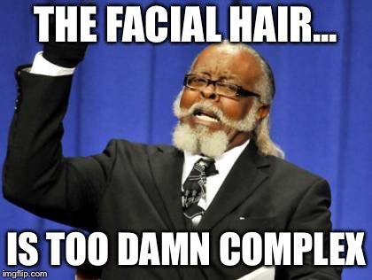Too Damn High Meme | THE FACIAL HAIR... IS TOO DAMN COMPLEX | image tagged in memes,too damn high | made w/ Imgflip meme maker