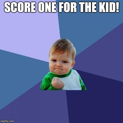 Success Kid Meme | SCORE ONE FOR THE KID! | image tagged in memes,success kid | made w/ Imgflip meme maker