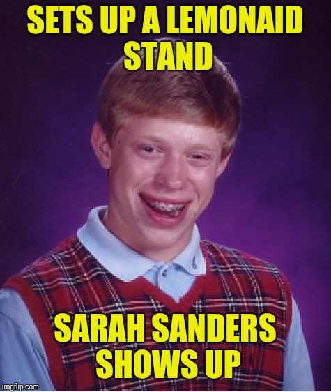 Bad Luck Brian Meme | SETS UP A LEMONAID STAND SARAH SANDERS SHOWS UP | image tagged in memes,bad luck brian | made w/ Imgflip meme maker