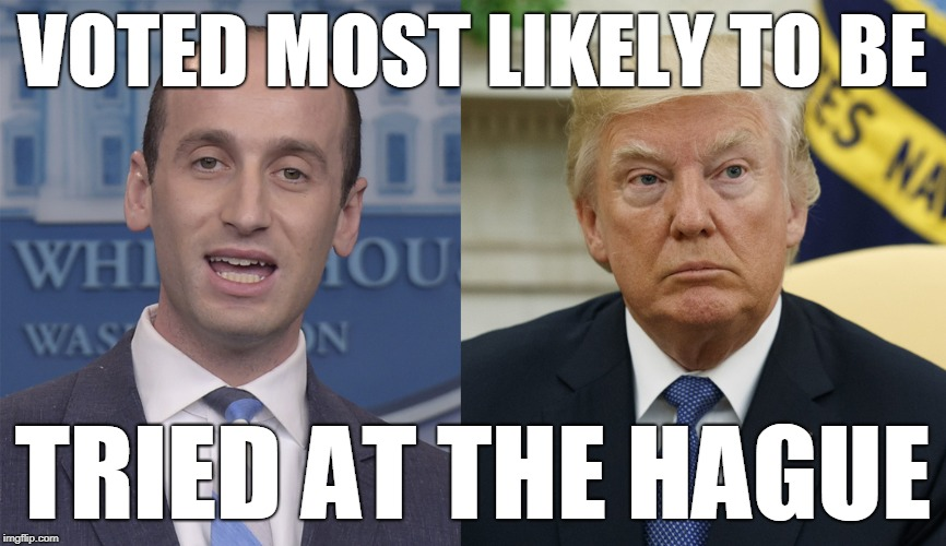 Voted Most Likely To Be Tried at The Hague | VOTED MOST LIKELY TO BE TRIED AT THE HAGUE | image tagged in stephen miller,trump,donald trump,the hague | made w/ Imgflip meme maker