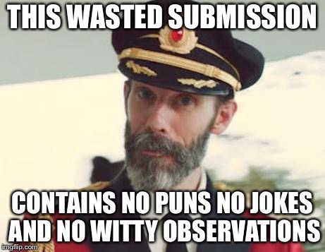 Captain Obvious | THIS WASTED SUBMISSION CONTAINS NO PUNS NO JOKES AND NO WITTY OBSERVATIONS | image tagged in captain obvious | made w/ Imgflip meme maker