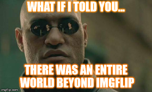 Matrix Morpheus Meme | WHAT IF I TOLD YOU... THERE WAS AN ENTIRE WORLD BEYOND IMGFLIP | image tagged in memes,matrix morpheus | made w/ Imgflip meme maker