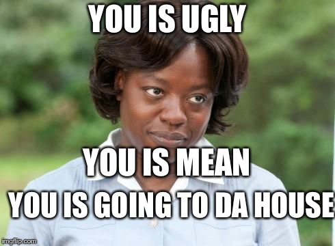 the help |  YOU IS UGLY; YOU IS MEAN; YOU IS GOING TO DA HOUSE | image tagged in the help | made w/ Imgflip meme maker