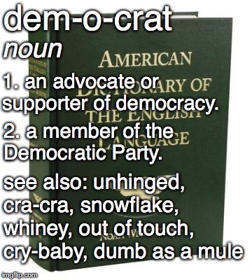 New Websters addition! | dem-o-crat 1. an advocate or supporter of democracy. noun 2. a member of the Democratic Party. see also: unhinged, cra-cra, snowflake, whine | image tagged in dictionary,crying democrats | made w/ Imgflip meme maker