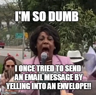 I'M SO DUMB I ONCE TRIED TO SEND AN EMAIL MESSAGE BY YELLING INTO AN ENVELOPE!! | image tagged in maxine waters | made w/ Imgflip meme maker