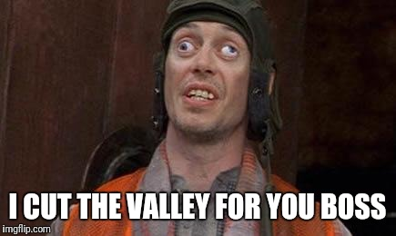 Cross eyes | I CUT THE VALLEY FOR YOU BOSS | image tagged in cross eyes | made w/ Imgflip meme maker