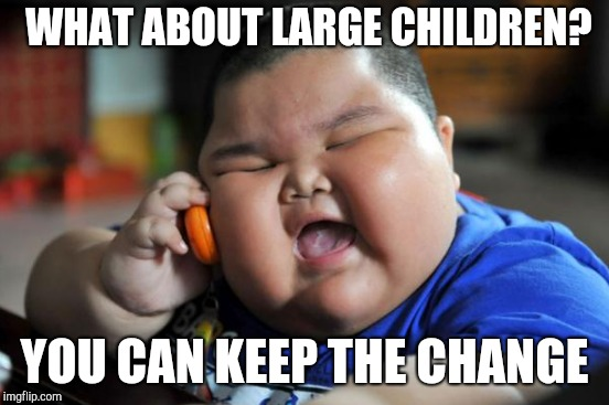 WHAT ABOUT LARGE CHILDREN? YOU CAN KEEP THE CHANGE | made w/ Imgflip meme maker