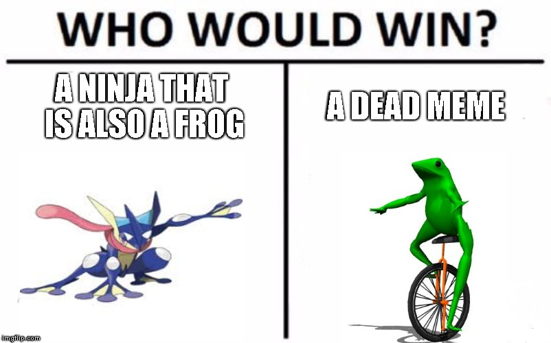 Who Would Win? Meme | A NINJA THAT IS ALSO A FROG A DEAD MEME | image tagged in memes,who would win | made w/ Imgflip meme maker