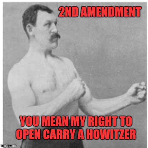 Overly Manly Man Meme | 2ND AMENDMENT YOU MEAN MY RIGHT TO OPEN CARRY A HOWITZER | image tagged in memes,overly manly man,jbmemegeek,2nd amendment,gun control,second amendment | made w/ Imgflip meme maker