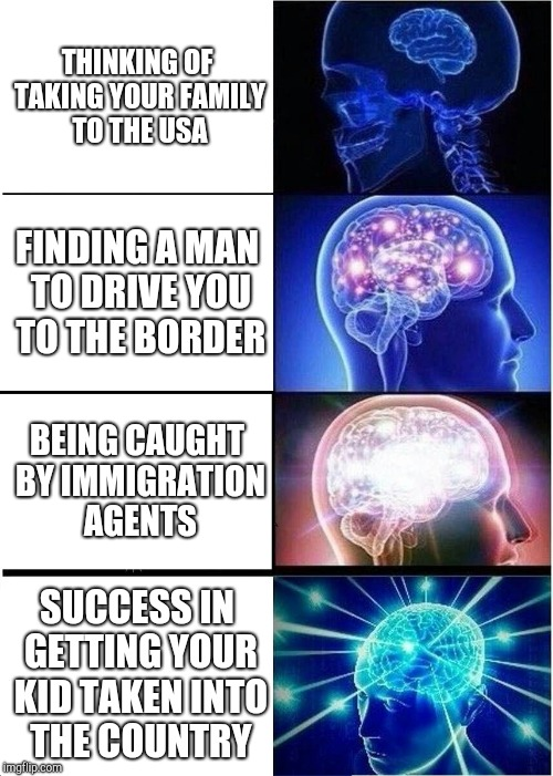 Expanding Brain Meme | THINKING OF TAKING YOUR FAMILY TO THE USA FINDING A MAN TO DRIVE YOU TO THE BORDER BEING CAUGHT BY IMMIGRATION AGENTS SUCCESS IN GETTING YOU | image tagged in memes,expanding brain | made w/ Imgflip meme maker