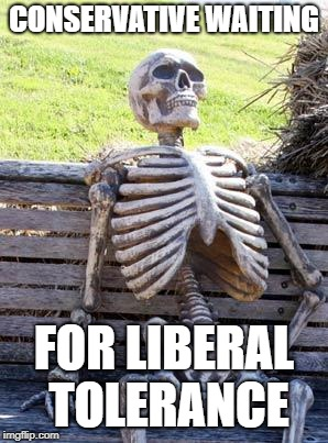 Waiting Skeleton | CONSERVATIVE WAITING FOR LIBERAL TOLERANCE | image tagged in memes,waiting skeleton | made w/ Imgflip meme maker
