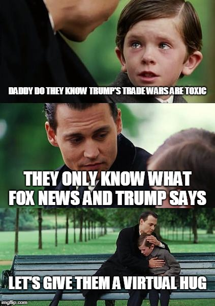 Finding Neverland Meme | DADDY DO THEY KNOW TRUMP'S TRADE WARS ARE TOXIC THEY ONLY KNOW WHAT FOX NEWS AND TRUMP SAYS LET'S GIVE THEM A VIRTUAL HUG | image tagged in memes,finding neverland | made w/ Imgflip meme maker