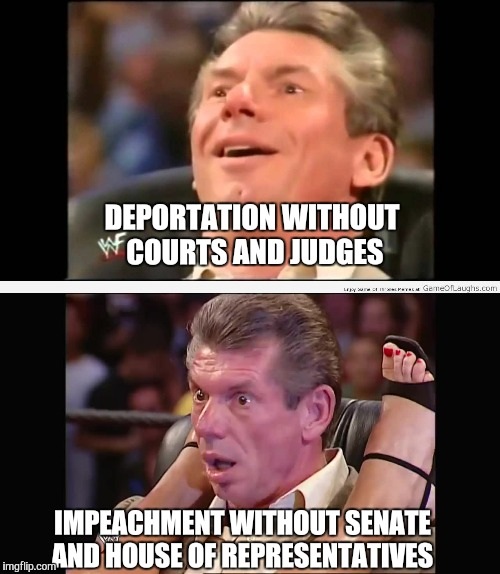 Vince mcmahon  | DEPORTATION WITHOUT COURTS AND JUDGES IMPEACHMENT WITHOUT SENATE AND HOUSE OF REPRESENTATIVES | image tagged in vince mcmahon | made w/ Imgflip meme maker