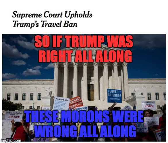 Travel Ban | SO IF TRUMP WAS RIGHT ALL ALONG THESE MORONS WERE WRONG ALL ALONG | image tagged in court | made w/ Imgflip meme maker