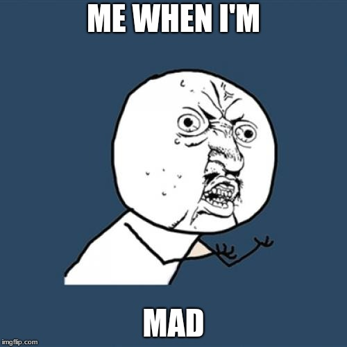 Y U No Meme | ME WHEN I'M MAD | image tagged in memes,y u no | made w/ Imgflip meme maker