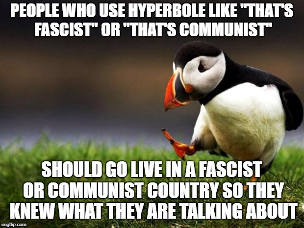 "Unpopular Opinion Puffin | PEOPLE WHO USE HYPERBOLE LIKE ""THAT'S FASCIST"" OR ""THAT'S COMMUNIST"" SHOULD GO LIVE IN A FASCIST OR COMMUNIST COUNTRY SO THEY KNEW WHAT THEY 