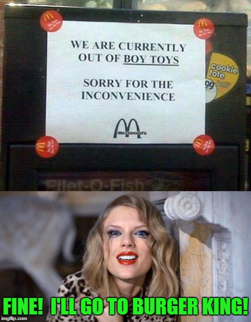 or maybe Wendy's as she's had a hankering for a little bi-experimentalism | FINE!  I'LL GO TO BURGER KING! | image tagged in memes,funny signs,mcdonalds,mcdonald's,taylor swift,happy meal | made w/ Imgflip meme maker