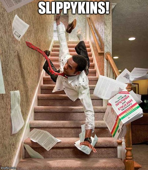 Falling down the stairs | SLIPPYKINS! | image tagged in falling down the stairs | made w/ Imgflip meme maker