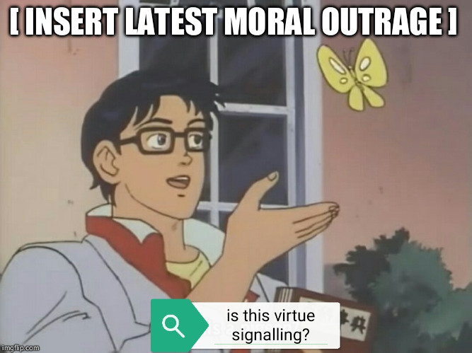 [ INSERT LATEST MORAL OUTRAGE ] | image tagged in virtue | made w/ Imgflip meme maker