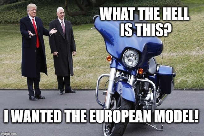 Trump wants a European Harley |  WHAT THE HELL IS THIS? I WANTED THE EUROPEAN MODEL! | image tagged in donald trump,tariffs,harley,european,trade war,trump | made w/ Imgflip meme maker