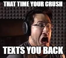 omg radio | THAT TIME YOUR CRUSH TEXTS YOU BACK | image tagged in omg radio | made w/ Imgflip meme maker