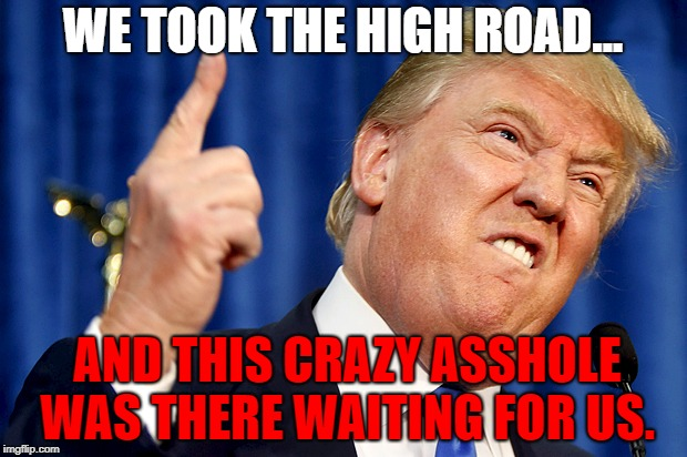 Donald Trump | WE TOOK THE HIGH ROAD... AND THIS CRAZY ASSHOLE WAS THERE WAITING FOR US. | image tagged in donald trump | made w/ Imgflip meme maker
