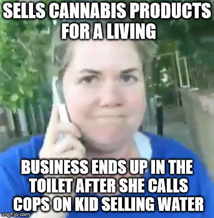 Looks like Karma ran over her dogma | SELLS CANNABIS PRODUCTS FOR A LIVING BUSINESS ENDS UP IN THE TOILET AFTER SHE CALLS COPS ON KID SELLING WATER | image tagged in permit patty,karma | made w/ Imgflip meme maker