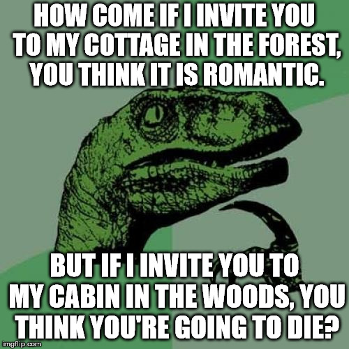 What synonym you use, can make all the difference. | HOW COME IF I INVITE YOU TO MY COTTAGE IN THE FOREST, YOU THINK IT IS ROMANTIC. BUT IF I INVITE YOU TO MY CABIN IN THE WOODS, YOU THINK YOU' | image tagged in memes,philosoraptor | made w/ Imgflip meme maker